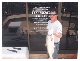 Captain John Wagner Chicago Salmon Charter Boat with one fish